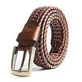 ECHAIN Men Braided Woven Genuine Leather Belt Brown