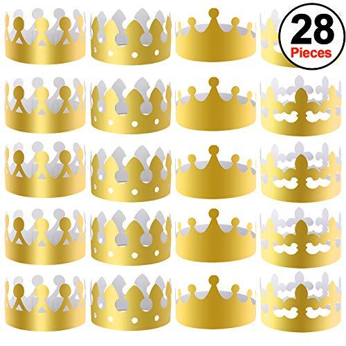 SIQUK 28 Stück Goldpapier Kronen Party King Crown Papierhüte für Party und ()