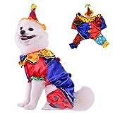 AEKOONA Hund Halloween-Kostüm mit Hut, Hund Cosplay Clown Kleidung