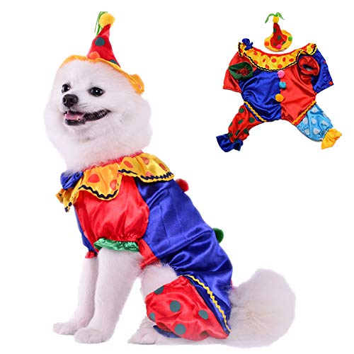 AEKOONA Hund Halloween-Kostüm mit Hut, Hund Cosplay Clown ()