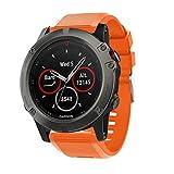 SUPORE Correa para Garmin Fenix 5X, Suave Silicona Banda de Reemplazo para Garmin Fenix 5X Sapphire Multisport 51mm GPS Watch/Fenix 3/ Fenix 5X Plus Smart Watch Pulsera (Naranja 1)