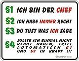 §1 Ich bin der Chef - Blech-Schild Blechschild mit Spruch, 4 Saugnäpfe - Grösse 22x17 cm