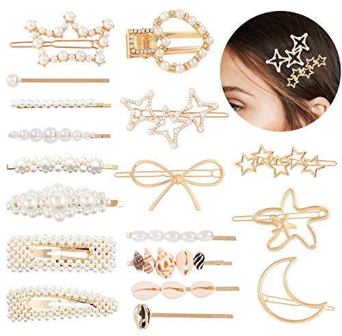 VAMEI Haarspangen Damen Haarspange Perlen Mädchen Haarclips Diamant Haar Snap Clips Faux Perle Haarnadeln Barrettes Stick Snap Haarspangen Für Geschenke (18 Stück)