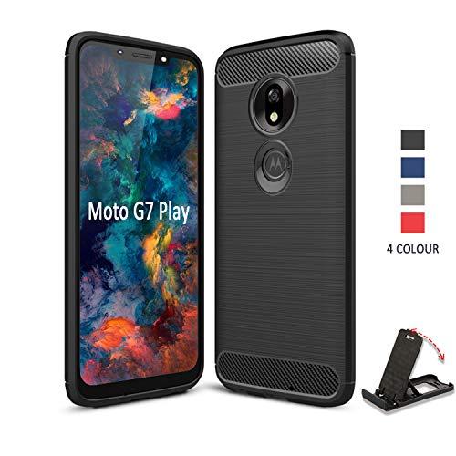 SCL Hülle Für Moto G7 Play Hülle, Handyhülle Exquisite Serie-Carbon Design Schutzhülle mit Anti-Kratzer und Anti-Stoß Absorbtion Technologie für Motorola G7 Play -Schwarz