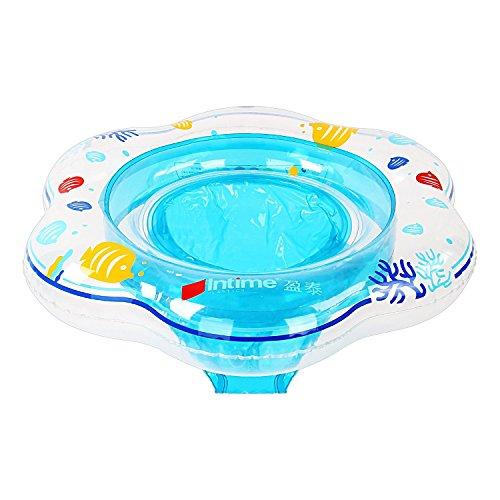 Gindoly Aufblasbarer Baby Schwimmring, Dual Airbag, Kleinkind Schwimmsitz für die Badewanne und Schwimmbecken, Passend für Babys von 6-36 Monaten (Blau) EINWEG