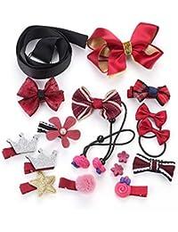 Surtido de princesa rosa Headwear 18pcs Accesorios para el cabello Set de regalo Baby Girls Pinzas para el cabello Barrettes Horquillas Pasadores para el cabello Bandas para la cabeza Tocado Arco de l