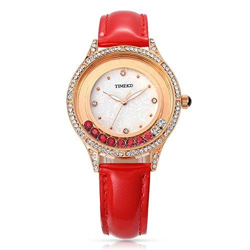 Time100 orologio da donna cinturino in pelle movimento al quarzo simple e moda buono regalo per natale#w80115l.02a(rosso)