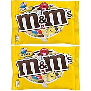 M&M's Chocolate Candy Peanut Sugar Shell, 45 Grams (Pack of 2)