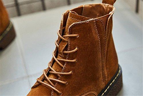 Donna stivali in autunno e in inverno irregolare con donna stivali testa rotonda stivali stile britannico caramel Colour