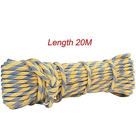 Rock Mountain Climbing cuerda de 8 mm Diàmetro 20M para llevar un accesorio para cable de descenso Rescate Supervivencia