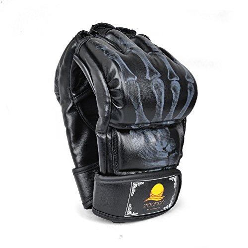 MMA Handschuhe, chenci Zooboo Half Finger Boxhandschuhe mit Anti-Burst PU Leder, mehrlagig Schutz, Klettverschluss Handgelenk Band, schwarz