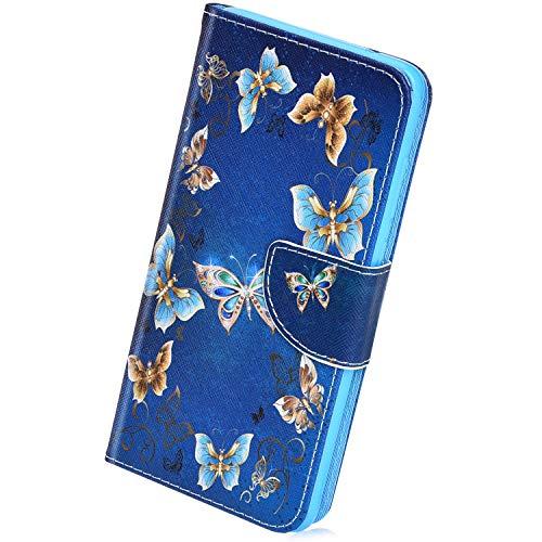 Herbests Kompatibel mit Huawei Honor 8C,Handyhülle Handytasche Leder Hülle Bunt Retro Muster Leder Schutzhülle Flipcase Brieftasche Hülle Bookstyle Wallet Tasche,Schmetterling - Chirurgische Retraktoren