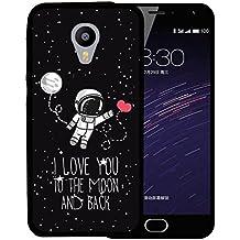 Funda Meizu m2 mini, WoowCase [ Meizu m2 mini ] Funda Silicona Gel Flexible Astronauta Corazón - I Love To the Moon And Back, Carcasa Case TPU Silicona - Negro