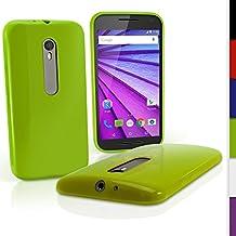 igadgitz Sólido Verde Lustroso Funda Carcasa Gel TPU para Motorola Moto G 3 ª Generación 2015 XT1540 Case Cover + Protector Pantalla