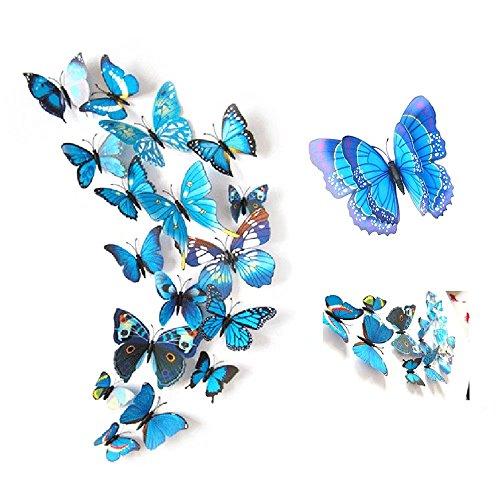 24 Stück Wall Sticker, MOMDAD 3D Schmetterlinge Blumen Wandsticker Wandaufkleber Dekoration Wandtattoo Aufkleber Fridge Stickers für Wohnzimmer Kinderzimmer Türen Fenster Badezimmer Kühlschrank Wohnung - Bunt Blau (Bunte Blatt-baum-aufkleber)