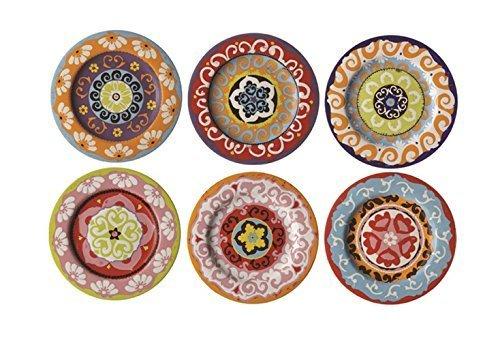 Rose & Tulipani Teller Nador, mediterraner Stil, bunt, 6 Verschiedene Teller, 13cm 13 Teller
