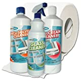 Cleaning Bundle 3 Litre Bottles of Cleaner - Cleans PVC UPVC PVCu Windows, Doors and Conservatory Frames - Premium Lint Free Tissue Roll 1ltr