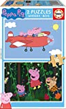 Peppa Pig-Dibujos Animados y cómic Puzzle de Madera 2 x 16 Piezas, (Educa Borrás 17157)