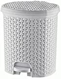 Rattan Style Plastic Pedal Bins 3 to 21 litres Bathroom Kitchen Office Dustbin (11.5 Litre, White)