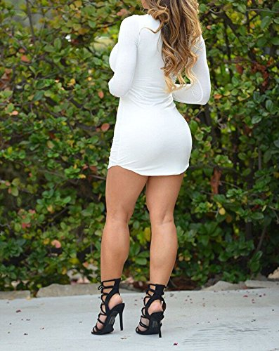 Donna Vestiti Eleganti Corti Ragazza Vestitini Invernali Autunno Manica Lunga Rotondo Collo Tubino Irregolare Orlare Puro Colore Abito Da Giorno Moda Club Party T-Shirt Abiti Bianco