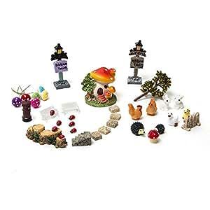 secretrain 18 tlg miniatur garten deko set mini szene. Black Bedroom Furniture Sets. Home Design Ideas