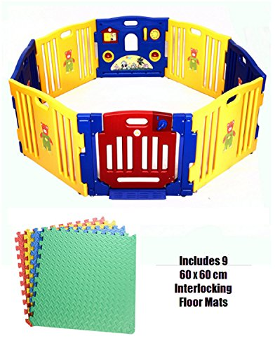 Baby Playpen 8 Plastic Panels Including Fun Activity Learning Centre w/ 9 Interlocking Floor Mats - Safe, Strong and Durable