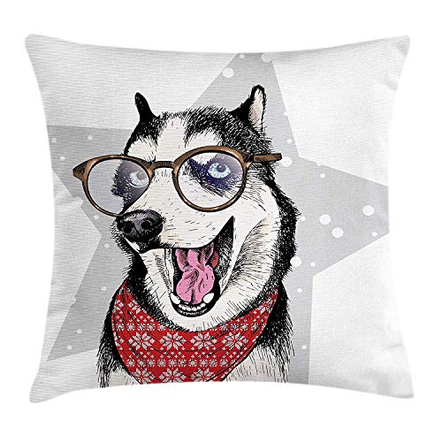 (Husky Throw Pillow Cushion Cover, Siberian Domestic Husky Dog Wearing a Bandana and Eyeglasses Standing in a Funny Pose, Decorative Square Accent Pillow Case, 18 X 18 inches, Multicolor)