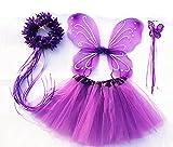 Tante Tina - Disfraz de hadas mariposa - Alas, Falda tutú, Varita mágica y Diadema - Lila con Diadema