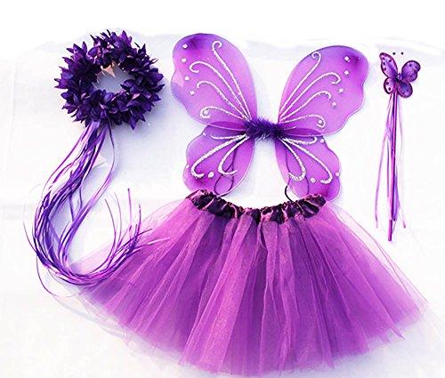 Tante Tina - Schmetterling Kostüm für Mädchen - 4-teiliges Set - Feenflügel / Schmetterlingsflügel Verkleiden - Lila mit - Schmetterling Kostüm Mädchen