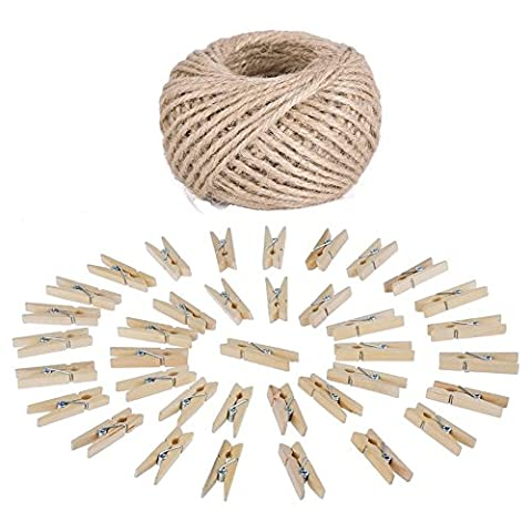 1PC 328 Feet Natural Jute Twine and 50 Pcs 3.5cm Wood Clothespins, Gersun Jute Twine and Wooden Clothespins Set for Gardening Applications, Arts Crafts Gift Christmas