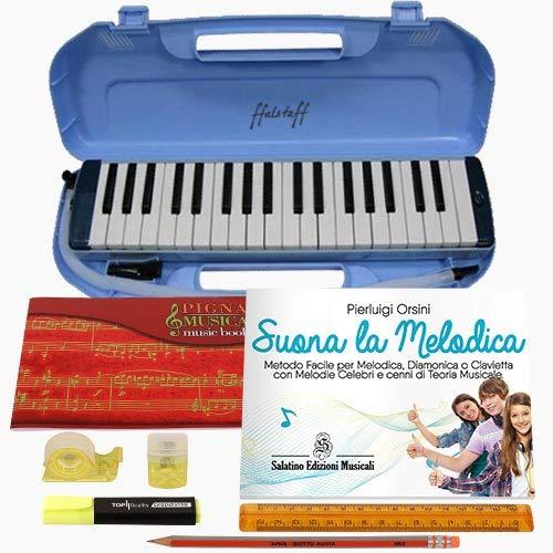 Kit melodica diamonica pianica clavietta ffalstaff tipo angel 37 tasti con set di cancelleria con quaderno pentagrammato, evidenziatore, matita giotto, righello, temperamatite, dispenser di nastro adesivo e metodo
