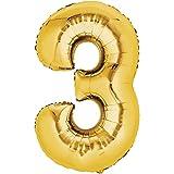 Folienballon - Zahl 3 GOLD - XXL 86cm, Zahlen Luftballon + PORTOFREI mgl + Geschenkkarte + Helium & Ballongas geeignet. High Quality Premium Ballons vom Luftballonprofi & deutschen Heliumballon Experten. Luftballondeko zum Geburtstag oder Jubiläum. Lustiger Geburtstagsgeschenk Ballon