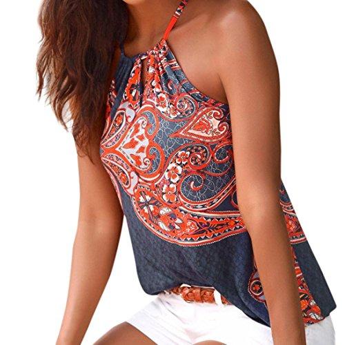 Cloom ❤Frauen National Wind Print Halfter Top Hängender Hals Weste Womens Floral Sommer Riemchen Weste Top Ärmelloses Shirt Bluse Casual Tank Tops Sexy Mode Strand Top Elegantes Top (XL, Dunkelblau)