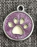SDCXV Paw Pattern Powder Dog Tag Hund Halskette Anhänger Zubehör (lila) Für jeden Tag
