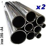( Lot de 2 Tubes ) Tube inox 20mm x 1,5mm Longueur 1 mètre Polimiroir 316