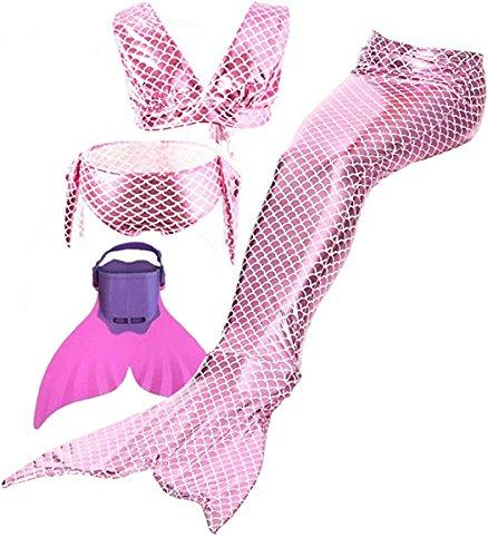 Mädchen Bikini Badeanzüge Meerjungfrauenschwanz zum Schwimmen mit Meerjungfrau Flosse Schwimmen Kostüm Bademode Flyhigh Meerjungfrauenschwanz Schwanzflosse…
