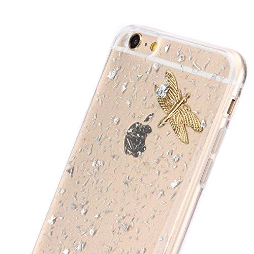 iPhone 6 Plus Hülle,iPhone 6s Plus Case,iPhone 6 Plus Bling Case - Felfy Ultradünne Transparent Gel TPU Silikon Diamond Skin Bling Glitte Kristall Schutzfolie Glitzer Silber Silikon Crystal Case Durch Silber Case Libelle