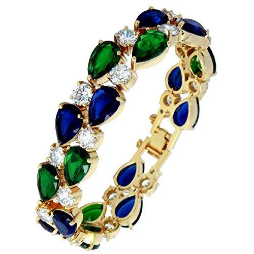 Schmuck Smaragd Farbe Kostüm - Touch von Luxus-Zanzara® Milano ECHT 18K vergoldet österreichischen Kristallen in AAA Qualität Saphir und Smaragd Farbe Imperiale Luxus Armband in Box
