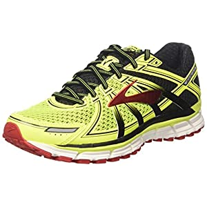 Brooks Adrenaline GTS 17, Zapatos para Correr para Hombre, Amarillo (Nightlife/Black/True Red), 40.5 EU