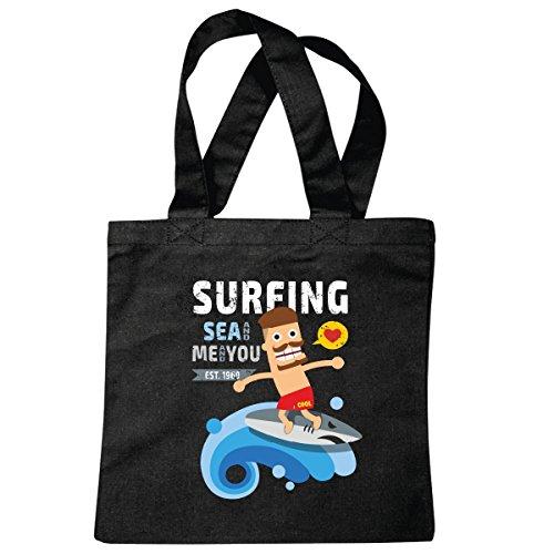 Reifen-Markt sac à bandoulière Surf Surfer planche à voile Surfer Vêtements Sac école Turnbeutel en noir