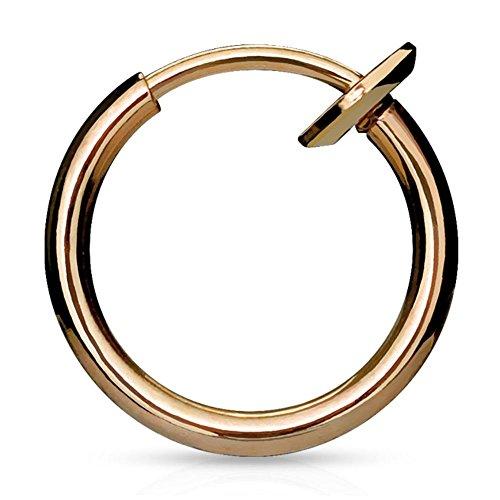 Bungsa® Rosegold Fake Piercing-Ring gold/schwarz/silber/roségold Edelstahl Chirurgenstahl mit Spring Verschluss (für Fake Septum Nasenpiercing Zunge Lippe Ohrstecker No Non Piercing Piercingring)