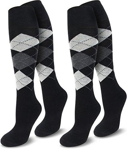 normani 2 Paar REIT-Kniestrümpfe mit Komfort-Polstersohle Farbe Schwarz/Grau Größe 31-34