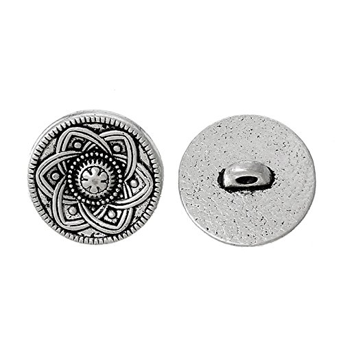 readycor (TM) 2016Nueva flor de 30pcs Plata Tono Metal Botones Para Costura Scrapbooking 15mm accesorios de costura
