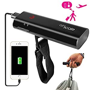 OAXIS AirScale Digital Luggage Scale with 6500mAh Fast Charge Power Bank (LG Battery Cell ), Portable Handheld Travel Scale LCD Luggage Hanging Scale