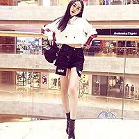 Moda Coreana BF Wind Mujer Tops con Capucha Cómodas señoras Sexy Manga Larga Sudadera con Capucha de Color sólido Ombligo - Blanco XL