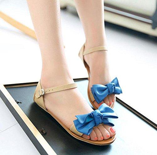 Shinik Süße Mary up Sommer Jane Schöne Frauen Schuhe Rot Close Blau Sandalen Flache Fliege Blue Gelb rnwxrYfvqp