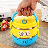 Grab Offers 2 Layer Double Decker Stainless Steel Insulation Kids School Lunch BoX/ BPA Free,Air Tight Heat Retention Insulated Eco-Friendly 1400 Ml Lunch Box For School,Tuition And Picnic.(RANDOM COLOUR) (Double Layer Lunchbox)