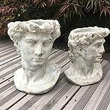 villa-lilla Valo Pflanzbüste Gartenbüste Römisch/Griechisch Antiker Männerkopf zum bepflanzen groß