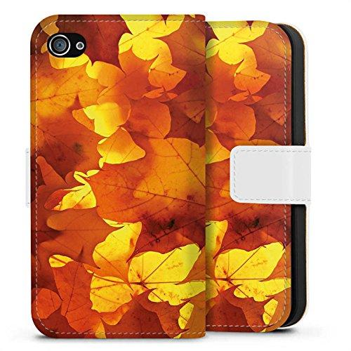 Apple iPhone X Silikon Hülle Case Schutzhülle Herbst Blätter Laub Sideflip Tasche weiß
