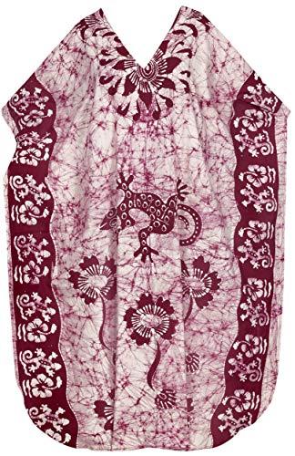 LA LEELA Frauen Damen Baumwolle Kaftan Tunika Batik Kimono freie Größe Lange Maxi Party Kleid für Loungewear Urlaub Nachtwäsche Strand jeden Tag Kleider kastanienbraun_P298 -